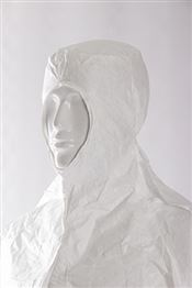 HC-0011-W DOTCH® Tyvek® Hood with straps, Tyvek®, 41g/m², white, 56cm, double bagged, 1 pc/double bag, 100 double bags/box